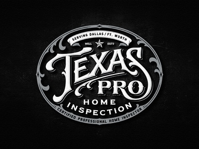 Texas Pro inspection dallas texas badge team vintage drawing dalibass logo typography logotype custom hand-drawn lettering
