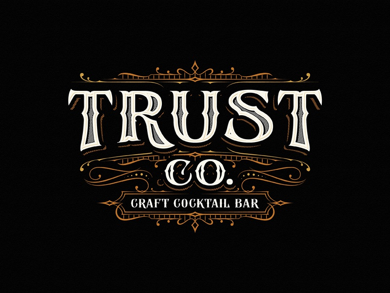 Trust Co craft cocktail bar team sketch vintage drawing dalibass logo typography logotype custom hand-drawn lettering