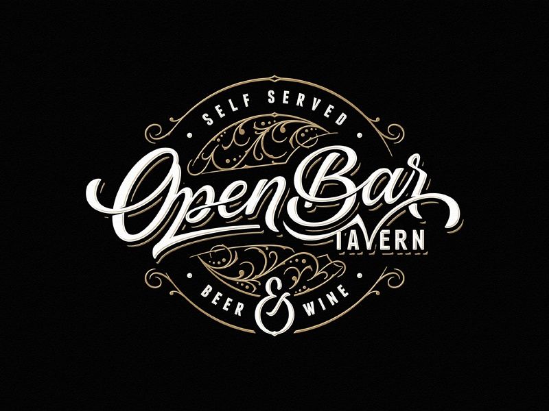 Open Bar Tavern wine beer tavern bar team sketch vintage drawing dalibass logo typography logotype custom hand-drawn lettering