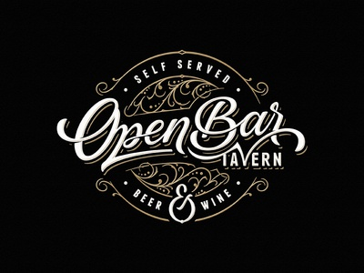 Open Bar Tavern wine beer tavern bar team sketch vintage drawing dalibass logo typography logotype custom hand-drawn lettering