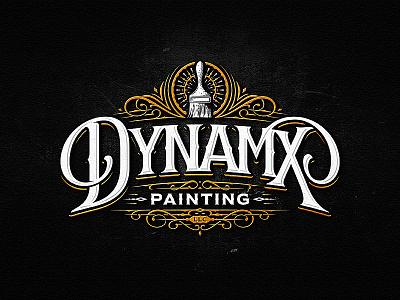Dynamx Painting LLC painting sketch vintage drawing dalibass logo typography logotype custom hand-drawn lettering