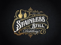 Stainless Still Distillery ngs dalibass drawing victorian rum vintage distillery illustration typography logotype custom hand-drawn lettering