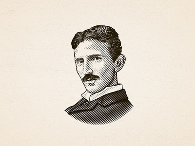 Nikola Tesla line art detailed nikola tesla logo portrait vintage etching tesla dalibass illustration