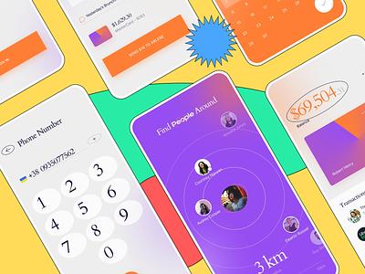 Mobile Interface Kit from thePenTool calendar credit card balance location payment angled mockup mobile mobile ui ui kit