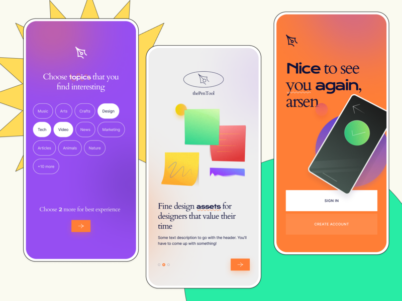 Mobile Interface Kit from thePenTool sign in sign up onboarding welcome mobile ui kit ui kit mockup mobile thepentool