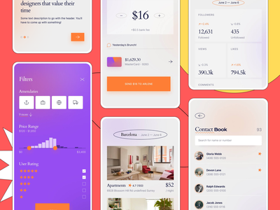 Mobile Interface Kit from thePenTool colorful minimalist screens onboarding send money profile contacts booking filters mobile mockup mobile ui kit thepentool