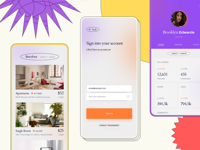 Another Mobile Interface Kit shot colorful grid followers stats profile sign up sign in booking mockup mobile ui kit thepentool