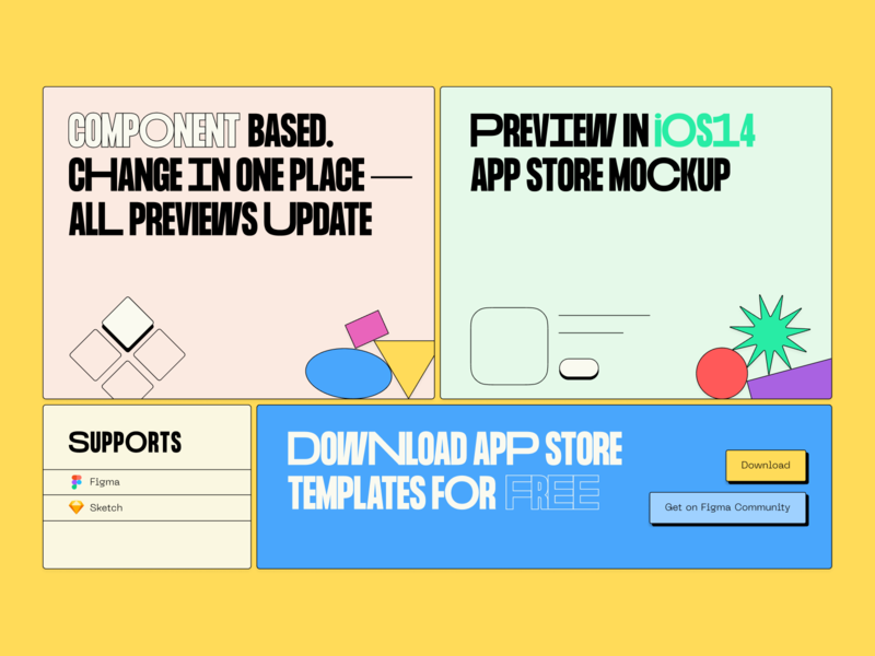 App Store Screenshots grid variable font thepentool blocks landing templates freebie app store