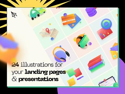 24 illustration for your landing pages & presentations landing illustration header thepentool design resource grid hero asset illustration set illustrations