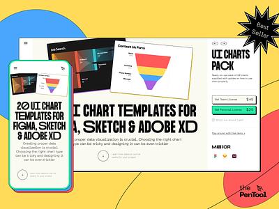 UI Charts Pack Header branding ios mockup mobile web typography variable font e-commerce colorful shapes header design brutalism thepentool ui charts pack landing header
