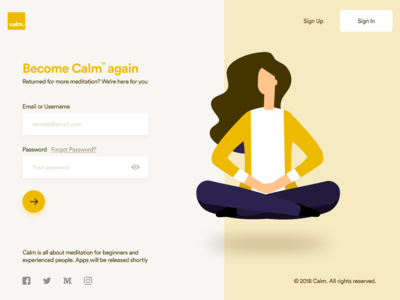 Calm™ Sign In