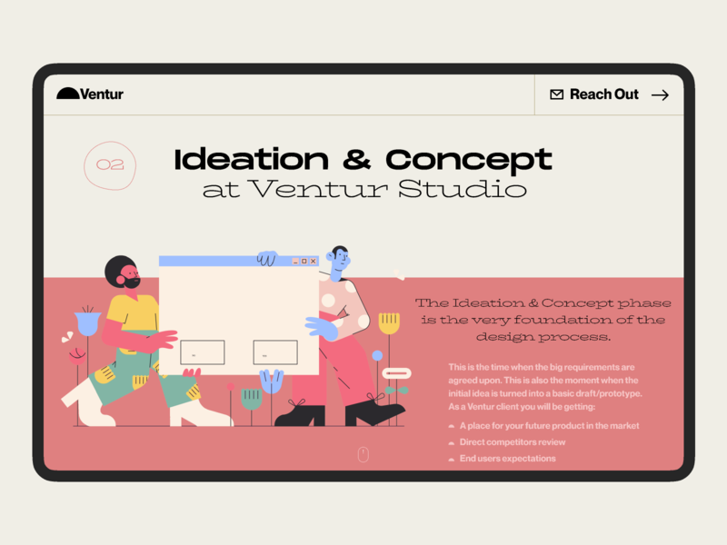 Ideation & Concept venture pastel illustration agency design studio design process concept ideation