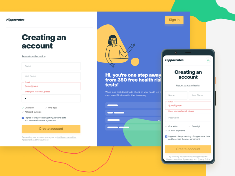 Hippocrates—Creating an Account split screen splitscreen pixel 4 mobile form sign in registration sign up illustration healthcare health checkup