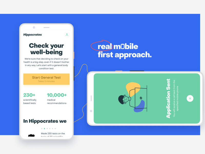 Hippocrates—Check your well-being checkup hippocrates mobile first modal popup overlay pixel 4 mobile landing landing page health healthcare