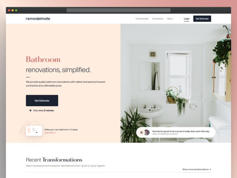 Remodelmate Home Page Preview web design website design real estate web ux ui desktop website redesign website renovaiton