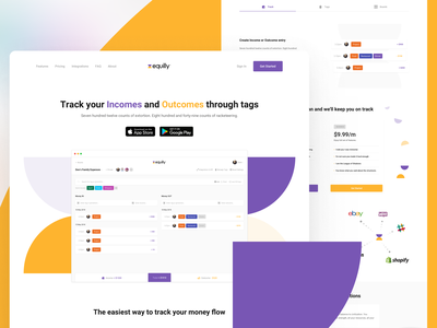 Equilly Landing Page tracking finances landing page ui landing page design web app web platform product tool product design marketing page web design website uxdesign uidesign landing page ux ui