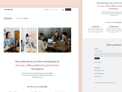Remodelmate Careers ux design ui design uiux construction website inner page simple web page web design desktop clean careers page careers website web ux ui