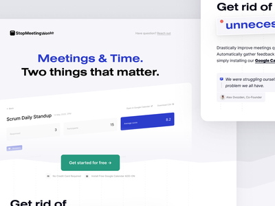 StopMeetingWaste Landing Page marketing site meeting hero digital product website homepage website design website landing pages product landing page marketing landing page marketing page landing design landing page ui landing page design