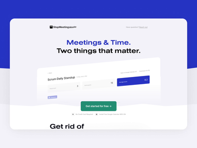 StopMeetingWaste Landing Page Hero Transition ux ui clean flat website interaction simple meetings landing pages landing page ui landing page design landingpage homepage scroll animation figma transition