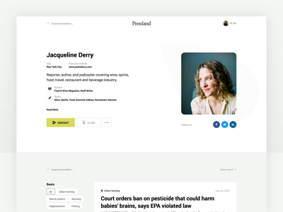 Journalist Profile data visualization web design product design web page simple clean web app interaction design animation journalist profile web designers web designer website design website web ux ui
