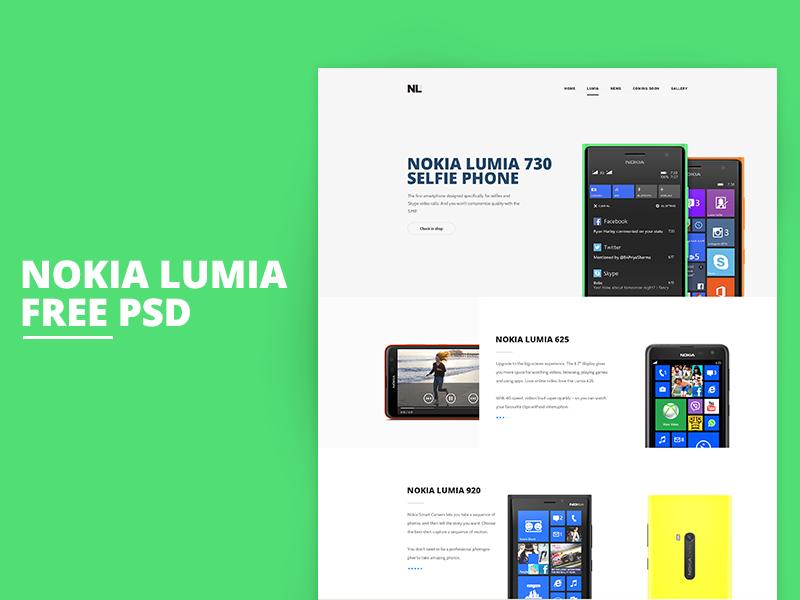 Nokia Lumia - free PSD template flat web freebie free ui layout psd nokia lumia design clean