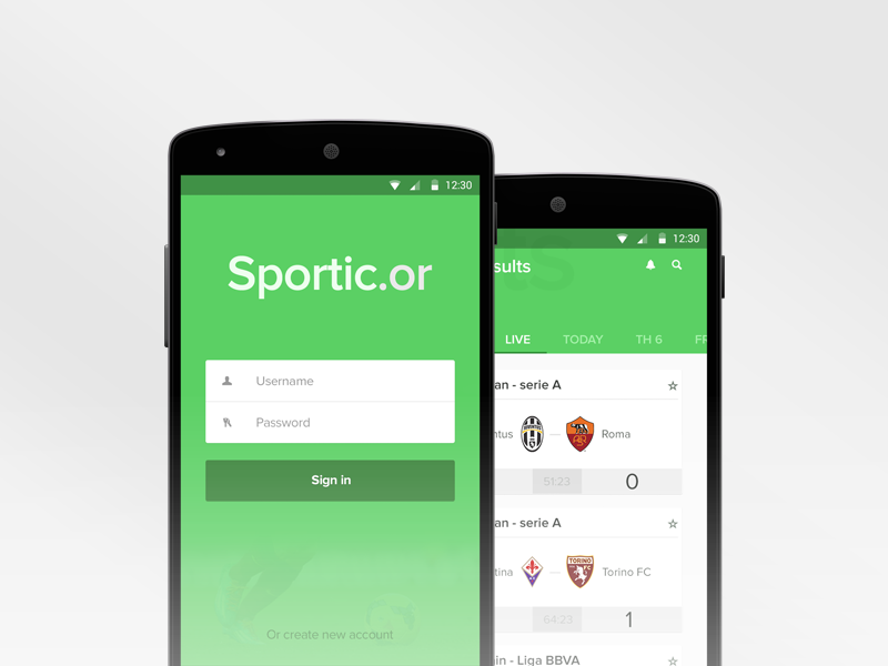 Sporticor android app android app simple material google ui mobile soccer green