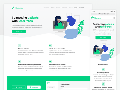 Celf Preservation - Landing Page patients researchers landing page health