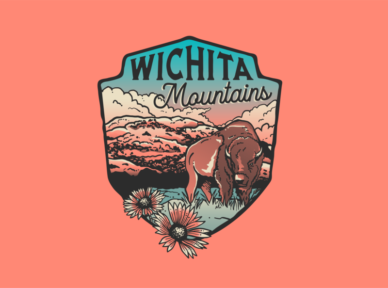 Wichita Mountians illustrator ipad outdoor badge bison wild life state park oklahoma icon typography vector design illustration