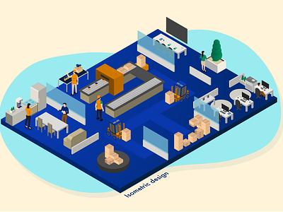 Isometric design of a factory illustraion isometry 3d isometric illustration isometric design