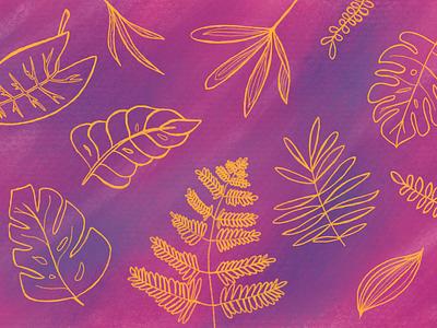 Golden Leafs Pattern abstract digital art design illustration procreate background