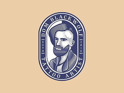 Dom Blackwolf | Tattoo Artist| Logo Design badge design scratchboard crosshatch logo designer etching engraving vintage logo vector illustration graphicdesign branding design process business logo adobe illustrator