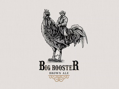 Big Rooster | Logo Illustration crosshatching crosshatch scratchboard logo designer business logo illustration logo design timelapse adobe illustrator vintage vintage design vintage font vintage logo logodesign logo