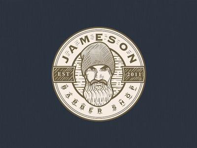Jameson Barbershop | Logo Illustration vintage design vintage badge logotype scratchboard crosshatch etching logodesign design process logo design logo adobe illustrator illustration vintage logo business logo logo designer