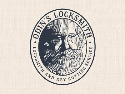 Odin's Locksmith | Logo badge design logo illustration art vintage logo vector scratchboard logo designer illustration graphic design etching engraving design process crosshatch business logo branding adobe illustrator logo design
