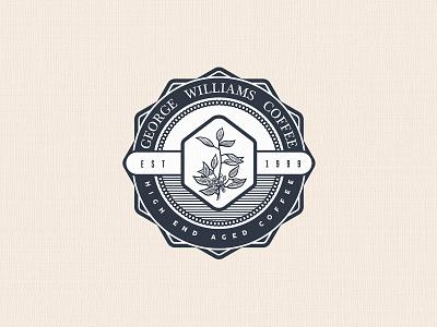 George Williams Coffee   Logo Concept designer for hire badge design logo illustration art vintage logo vector scratchboard logo designer illustration graphic design etching engraving design process crosshatch business logo branding adobe illustrator logo design