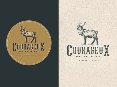 Courageux | White Wine | Logo Design designer for hire badge design logo illustration art vintage logo vector scratchboard logo designer illustration graphic design etching engraving design process crosshatch business logo branding adobe illustrator logo design