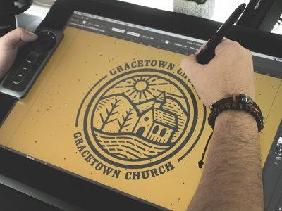 Gracetown Church | Vintage Logo scratchboard etching design process adobe illustrator logo logo design vintage logo illustration logo designer business logo
