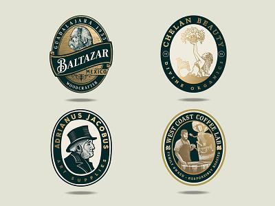 Badge Logos business logo vector crosshatch etching adobe illustrator logo logo design vintage logo logo designer badges badge design badge logos