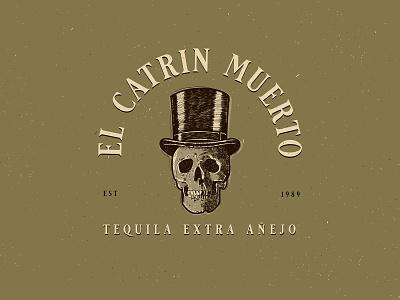 El Catrin Muerto • Tequila • Logo Project top hat skull vintage design vector crosshatch logo logo design business logo illustration vintage logo logo designer