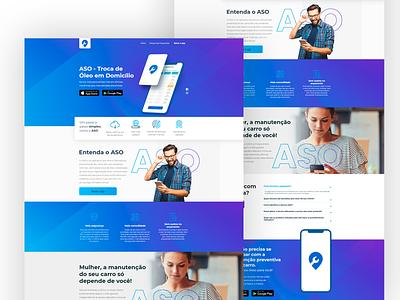 APP ASO - Auto Serviço Online - Landing Page branding minimal design website web app ux ui