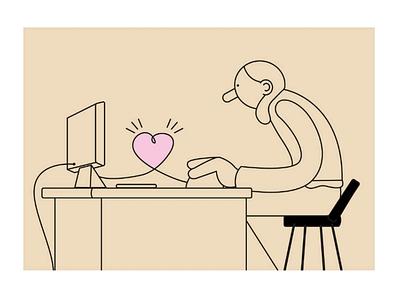 Love! character design minimal design character art digital art graphisme design graphic illustrator illustration