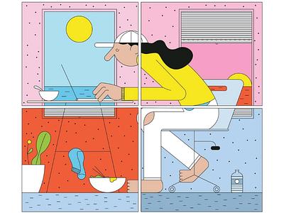 Le temps passe draw graphisme minimal character design digital art design graphic illustrator illustration