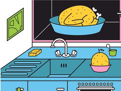 Tranche de vie 2 kitchen dessin graphisme design illustrator illustrateur illustration