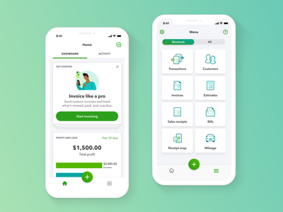 QuickBooks Online Dashboard and Menu ios icon illustration grid menu dashboad app design ui mobile