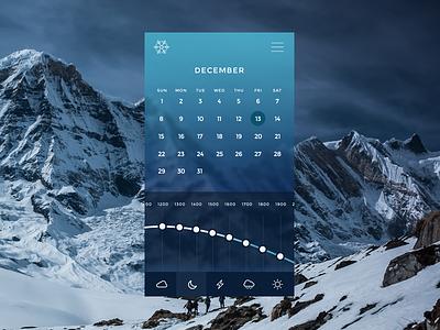 Winter weather app photoshop flat mobile table graph calendar ui