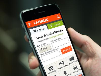 U-Haul Mobile Home Page grid nav ui design iphone button form icon app website mobile
