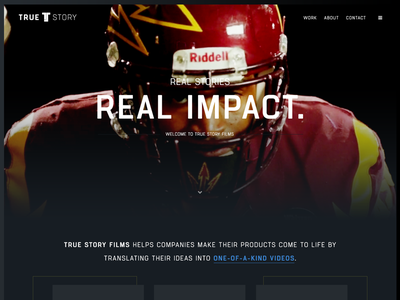 True Story Concept visual design minimal clean mockup design home page ui web design