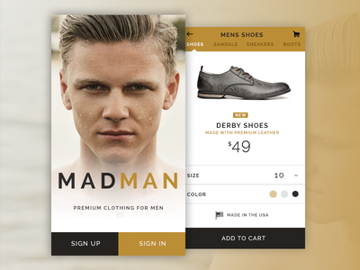 Madman Mobile Store Concept ios minimal light gold sign in store app ui mobile