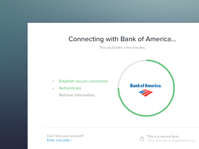 Connecting to Financial Account by Andrew | Dribbble | Dribbble