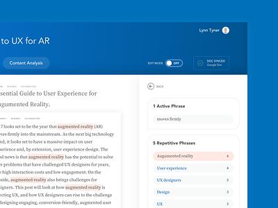 Content Analysis Feature - Resonate AI app desktop article ui ux interface editor writing writer